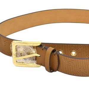 Michael Kors Deco Quilted Leather Belt Large New